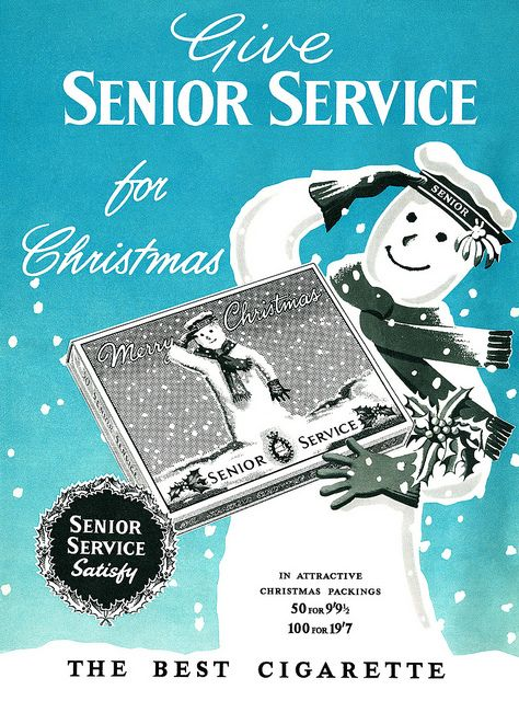 Give Senior Service for Christmas. #vintage #cigarettes #ads #Christmas