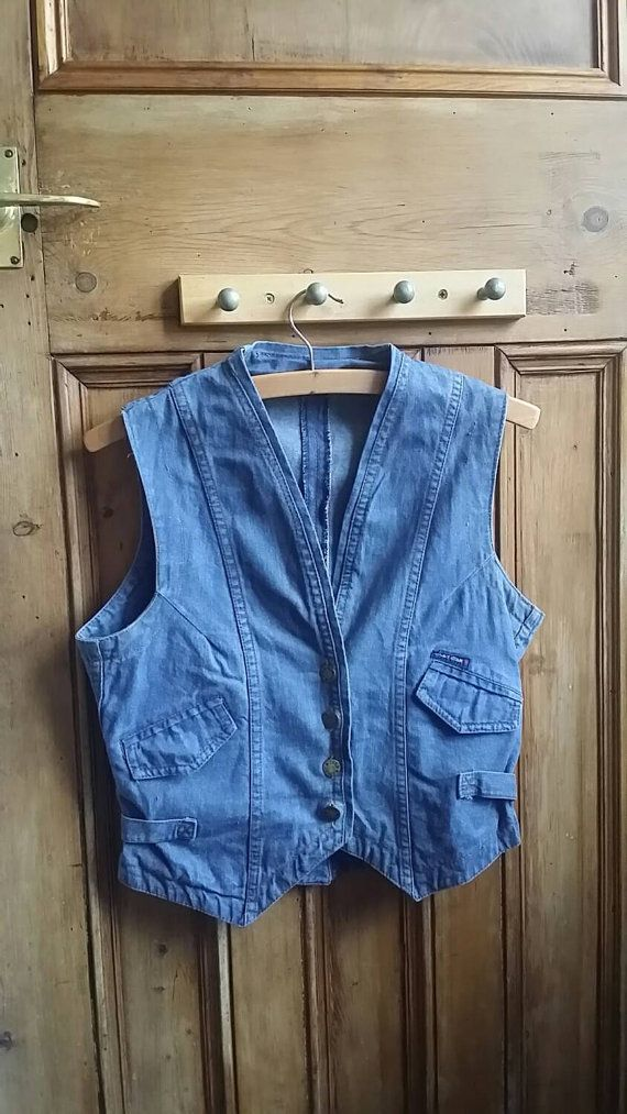 Denim waistcoat womens clothes vintage by dollycalledtopsy on Etsy