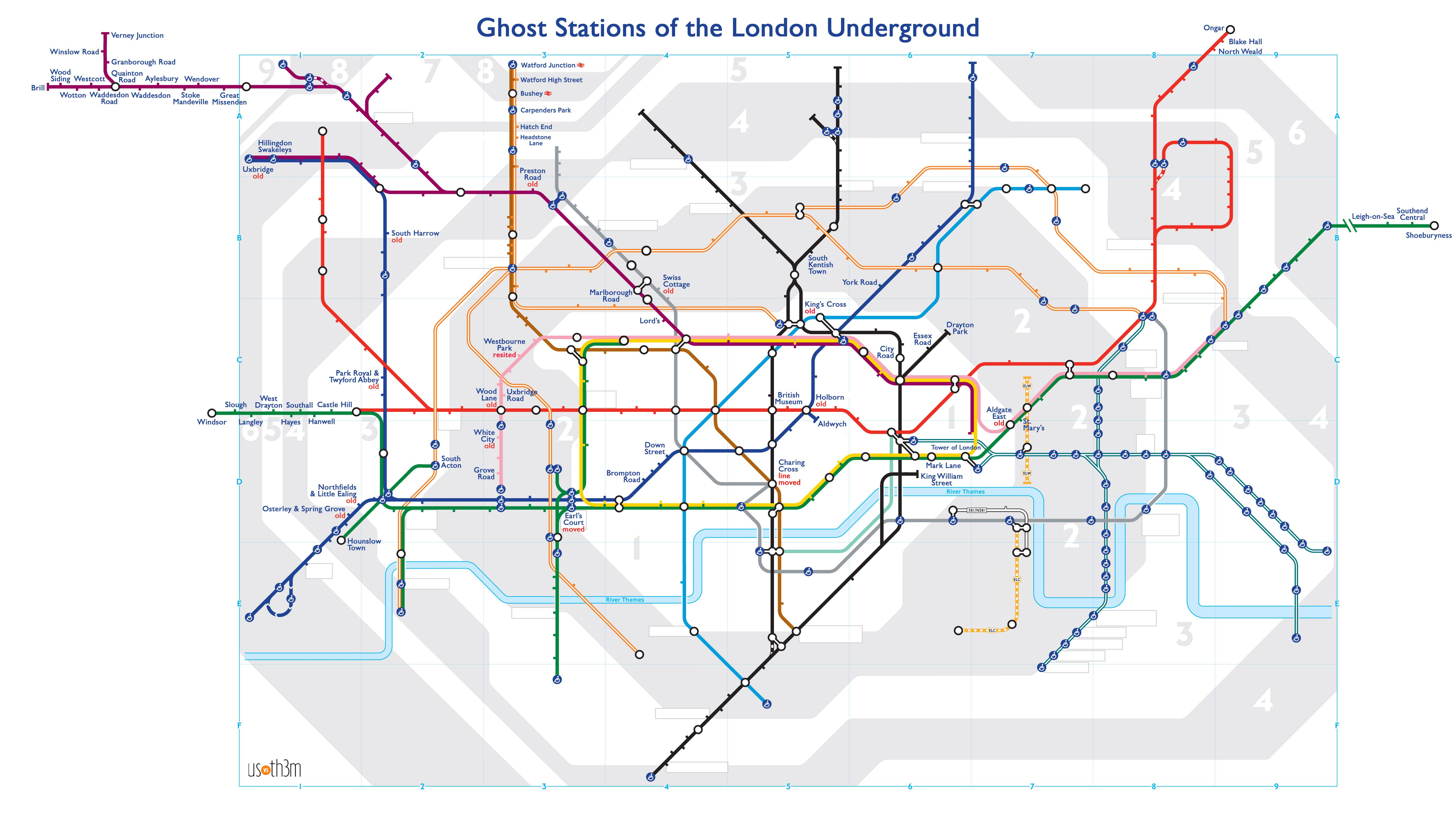 A Tube map of Londons ghost stations Now Here This Time – Real London Underground Map