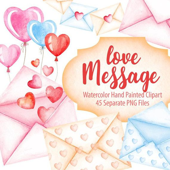 Watercolor love message heart envelope valentines day digital watercolor love message heart envelope valentines day digital prints planner stickers invitation post card hand painted graphic png m4hsunfo