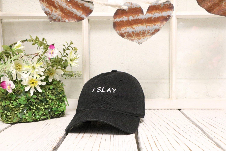 4e2281f670912 I SLAY Dad Hat