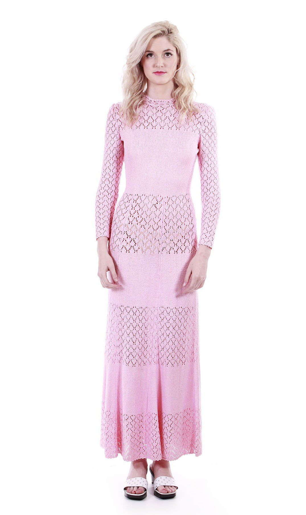 Us knit maxi dress petal pink heavy crochet long sleeve vintage