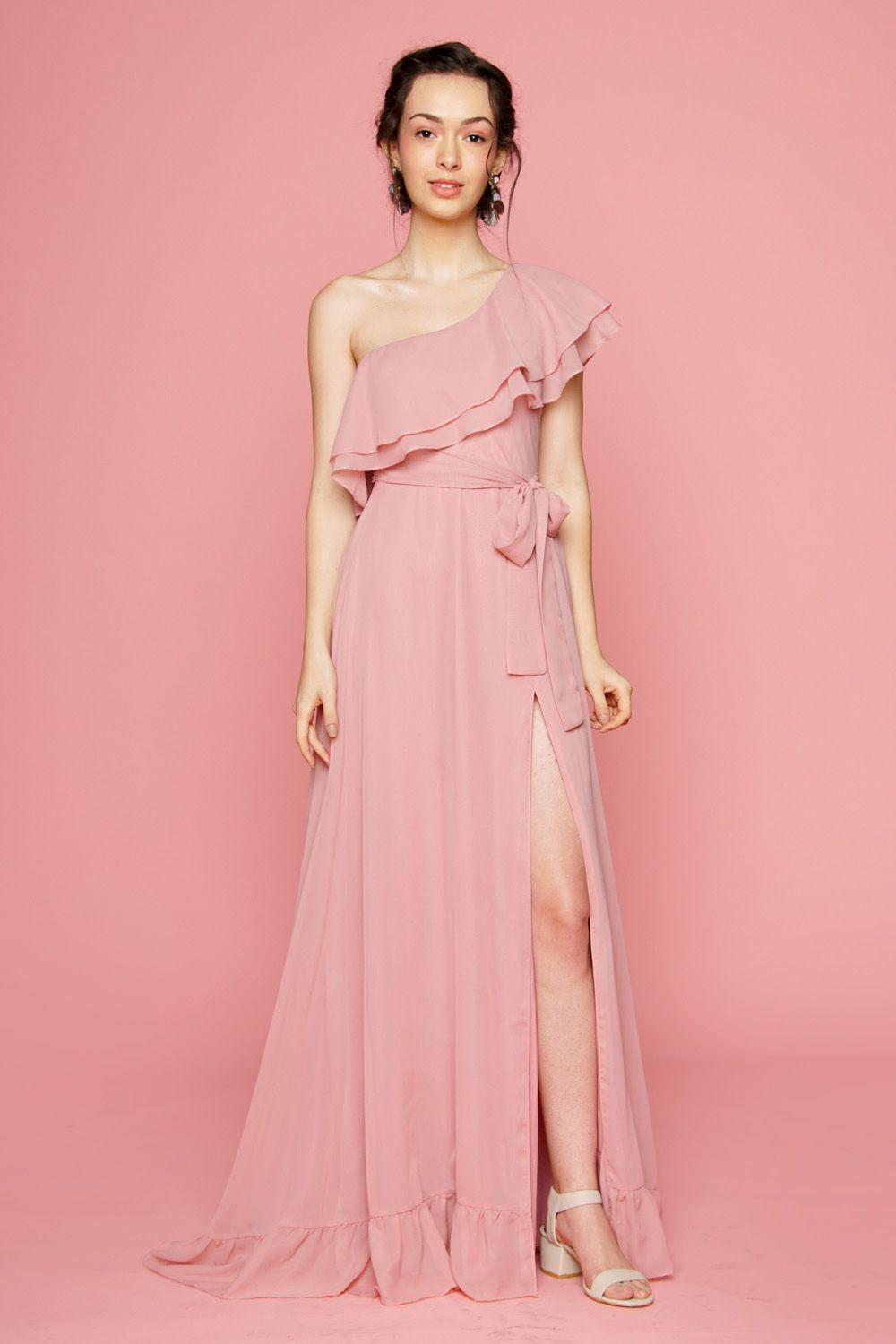 84d629435 BONITA One Sided Ruffle Maxi Dress with Slit (Old Rose)