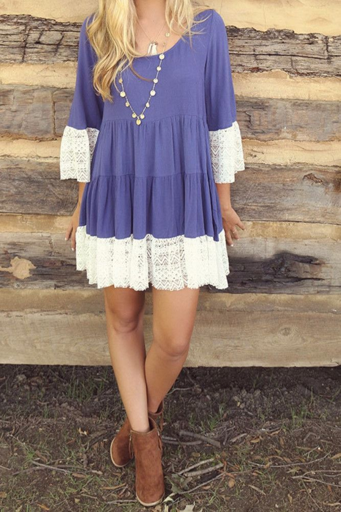 London Fog Indigo Scoop Neck Multi Tiered Peasant Dress With Lace ...