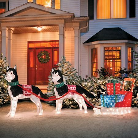 huskies with sleigh lighted outdoor christmas decoration christmaslightsoutdoors