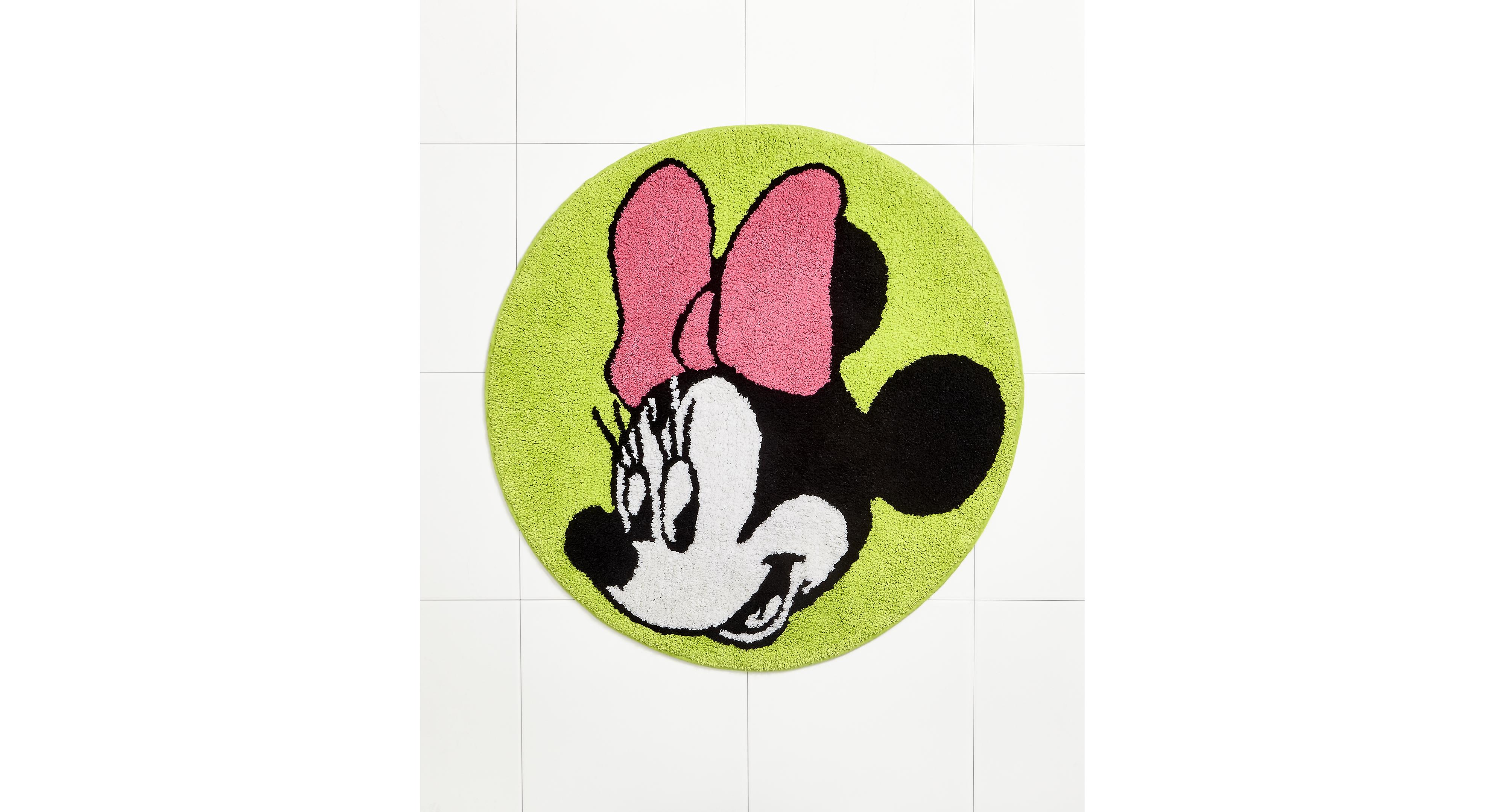 Disney Bath Rugs Neon Minnie 28 Round Rug Products Bath Rugs Bathroom Rugs Rugs