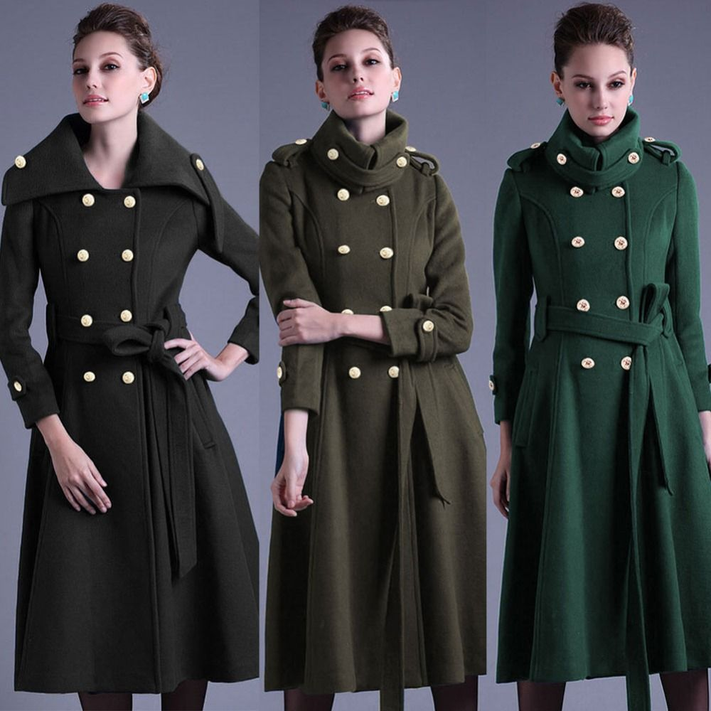 2015 Army Green Military Long Jacket Women Winter Woolen Coat Double Breasted Slim Fitted Full Skirt Trench Coat Overcoat W070 In Wool Blends From Women S Clo [ 1000 x 1000 Pixel ]