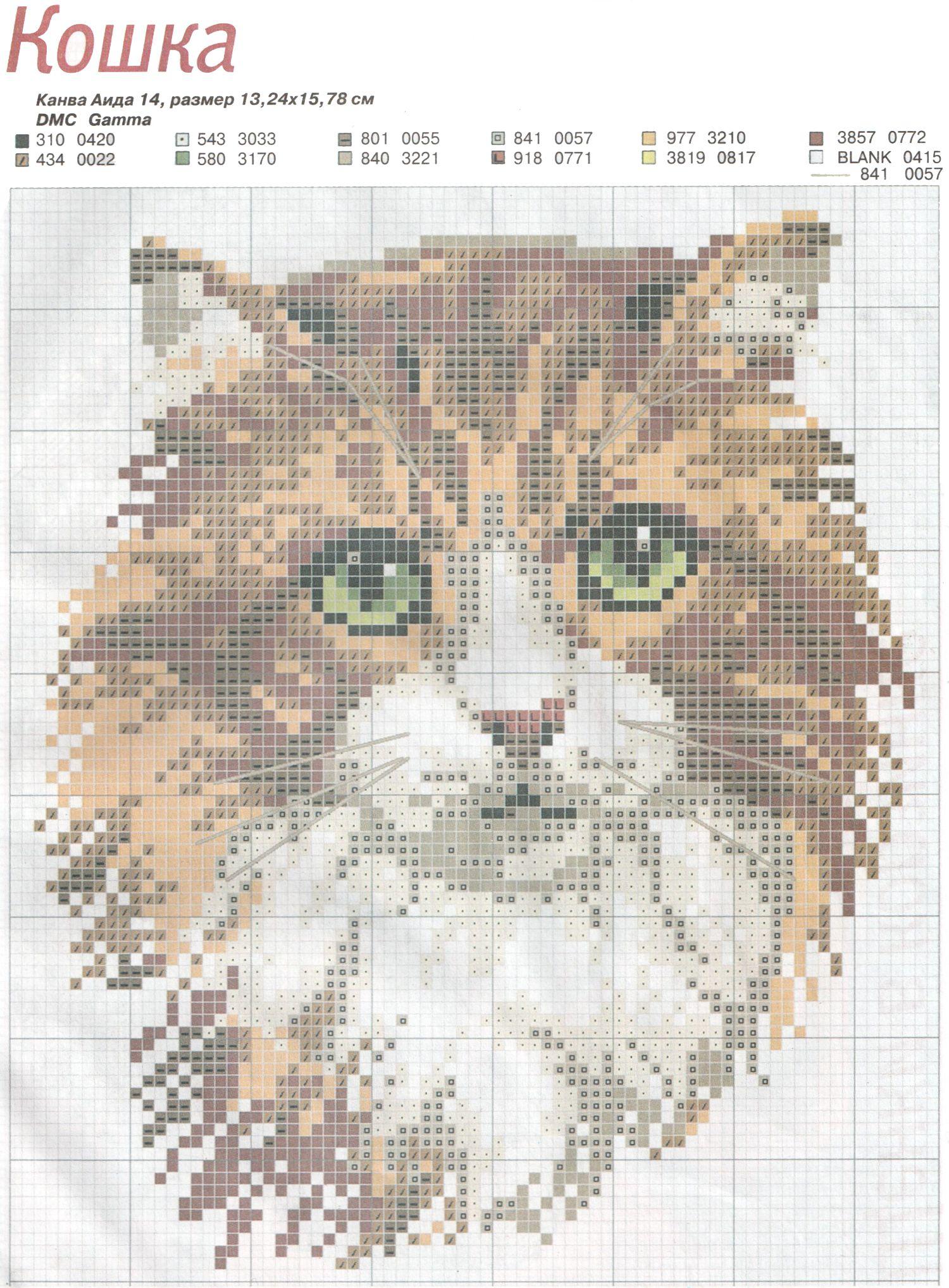 Схемы вышивки гладью коты