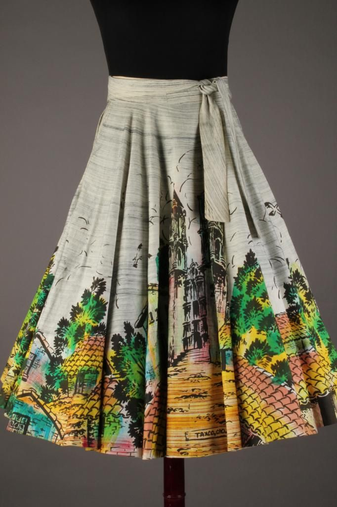 f54d4ef3eed3c 50s-60s VTG Artegreen Hand Painted Mexican Circle Skirt feat. Taxco  Cathedral. Size L - $114 via eBay