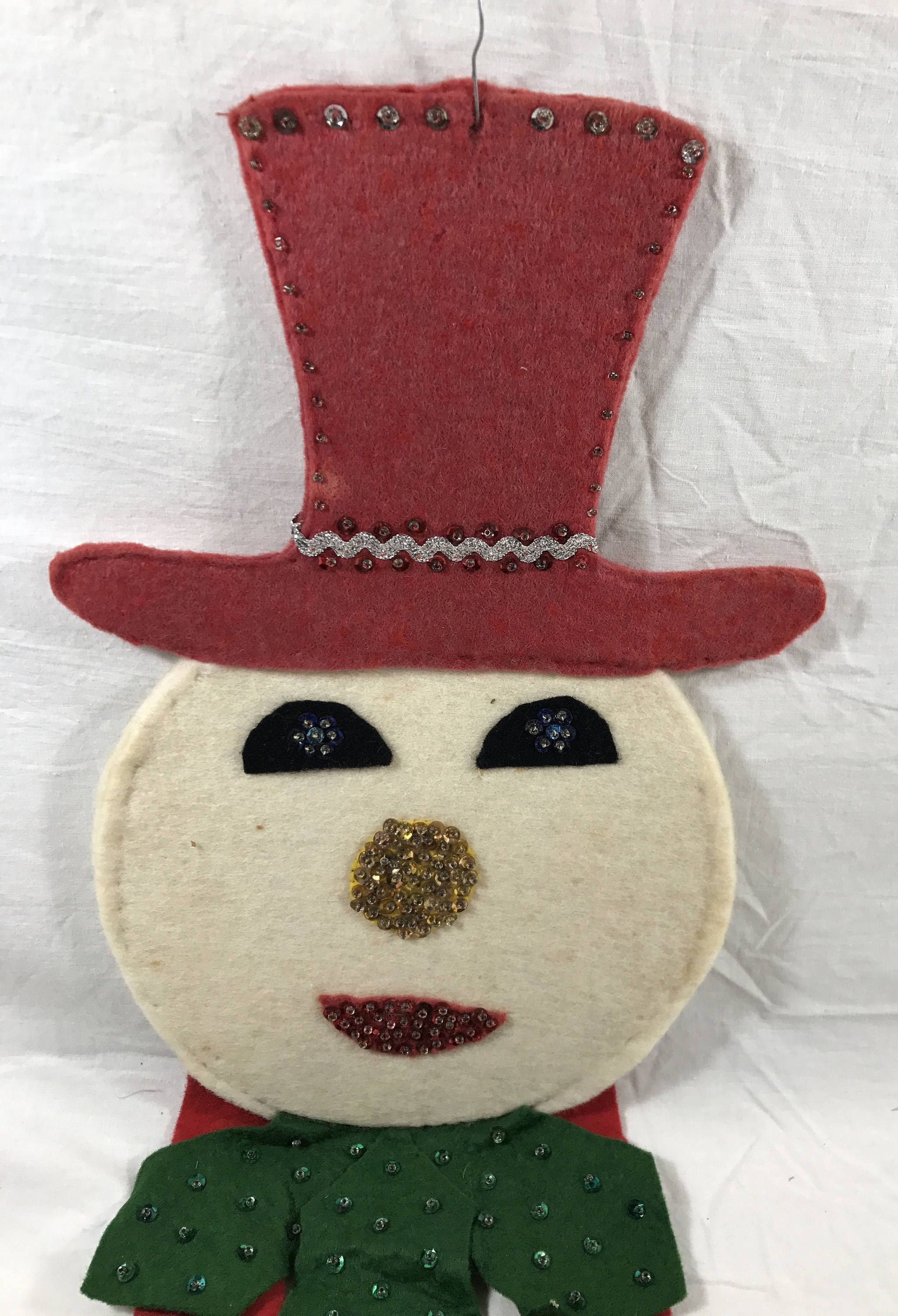 Mid Century Handmade Felt Snowman Decoration or