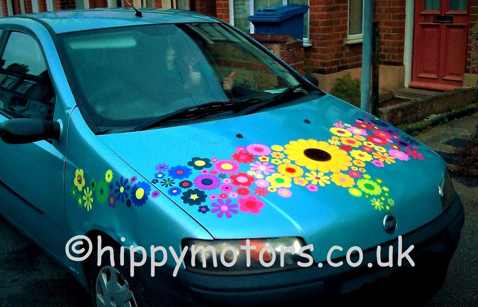 Flower Car Bonnet Vinyl Stickers Flower Car Car Cute Cars [ 1055 x 1645 Pixel ]