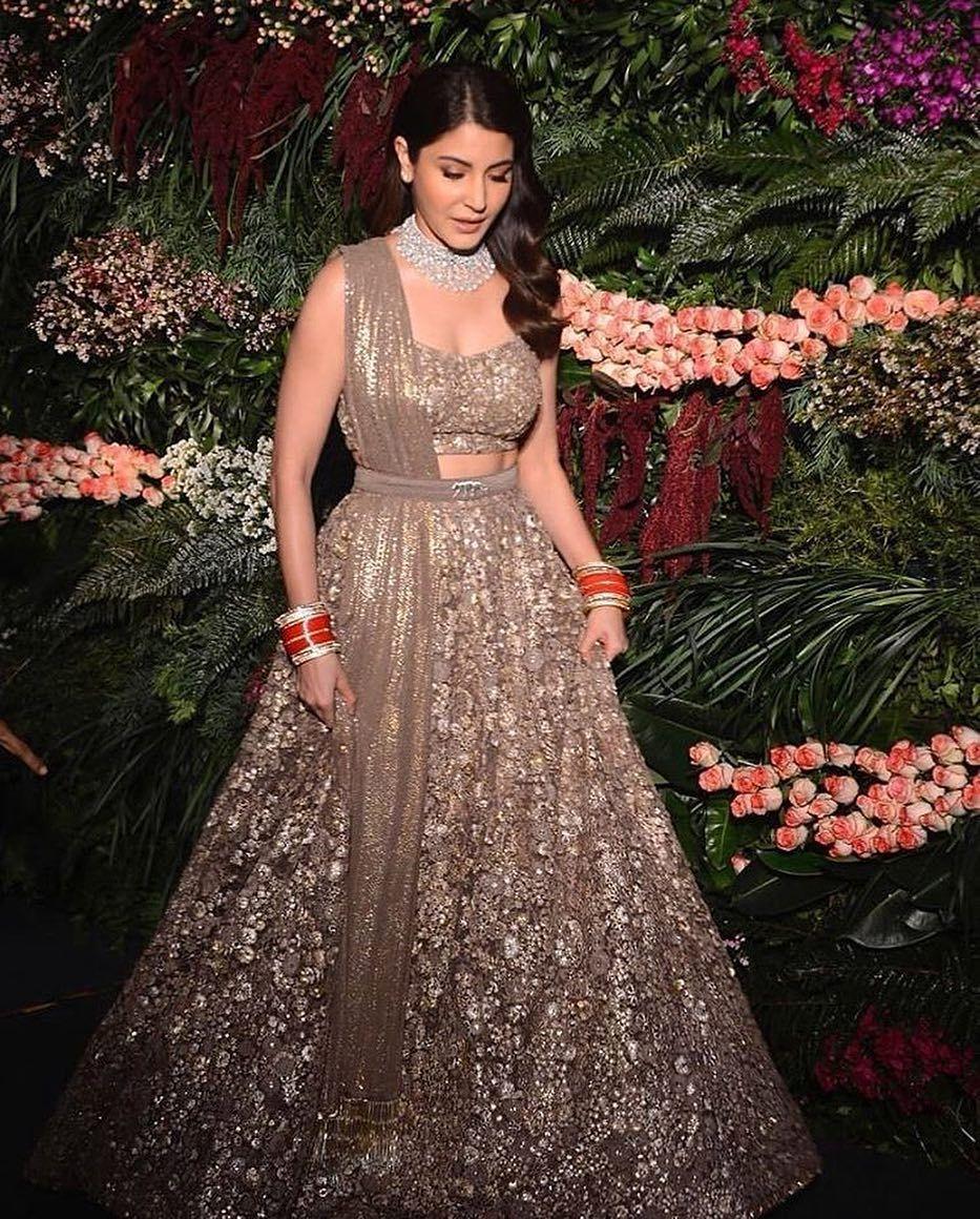 @anushkasharma in a Sabyasachi Couture Lehenga and Jewelry ...