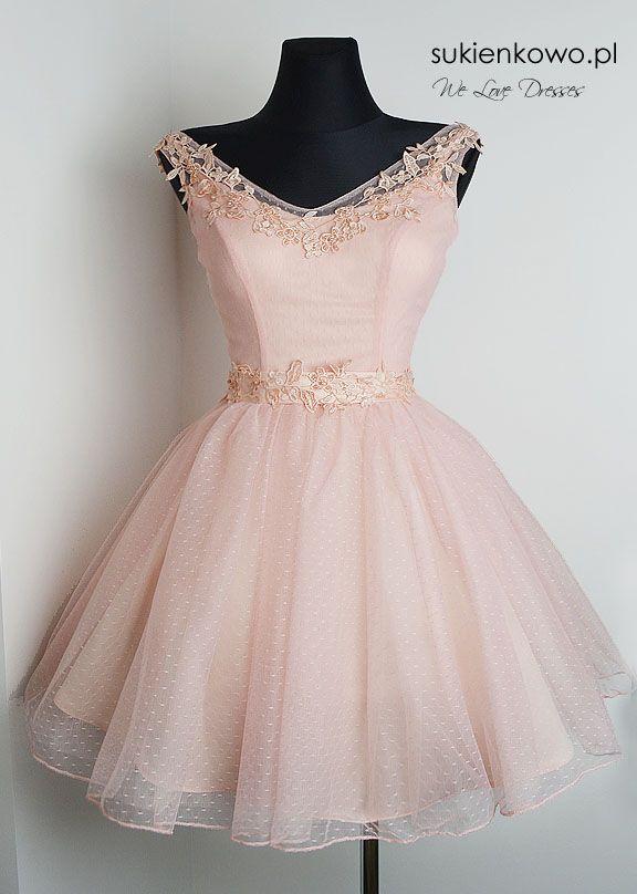 069d287379 Sukienkowo.pl - Sukienka rozkloszowana tiulowa z gipiurą pudrowo różowa  SCARLET Suknie Homecoming