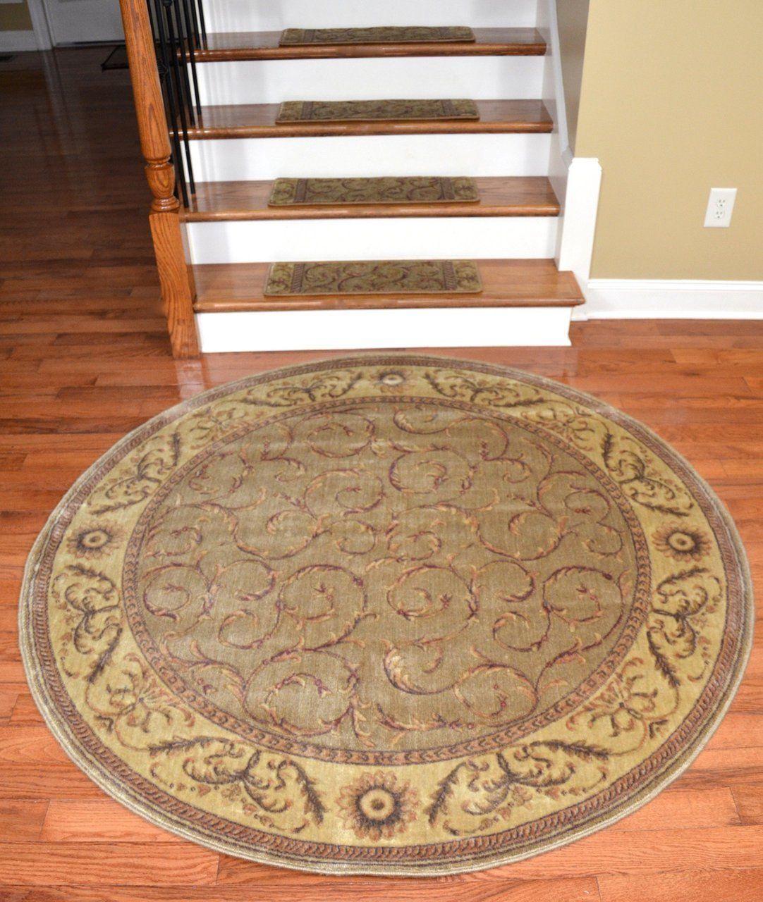 Best Dean Premium Carpet Stair Treads Meadow Green Scrollwork 400 x 300