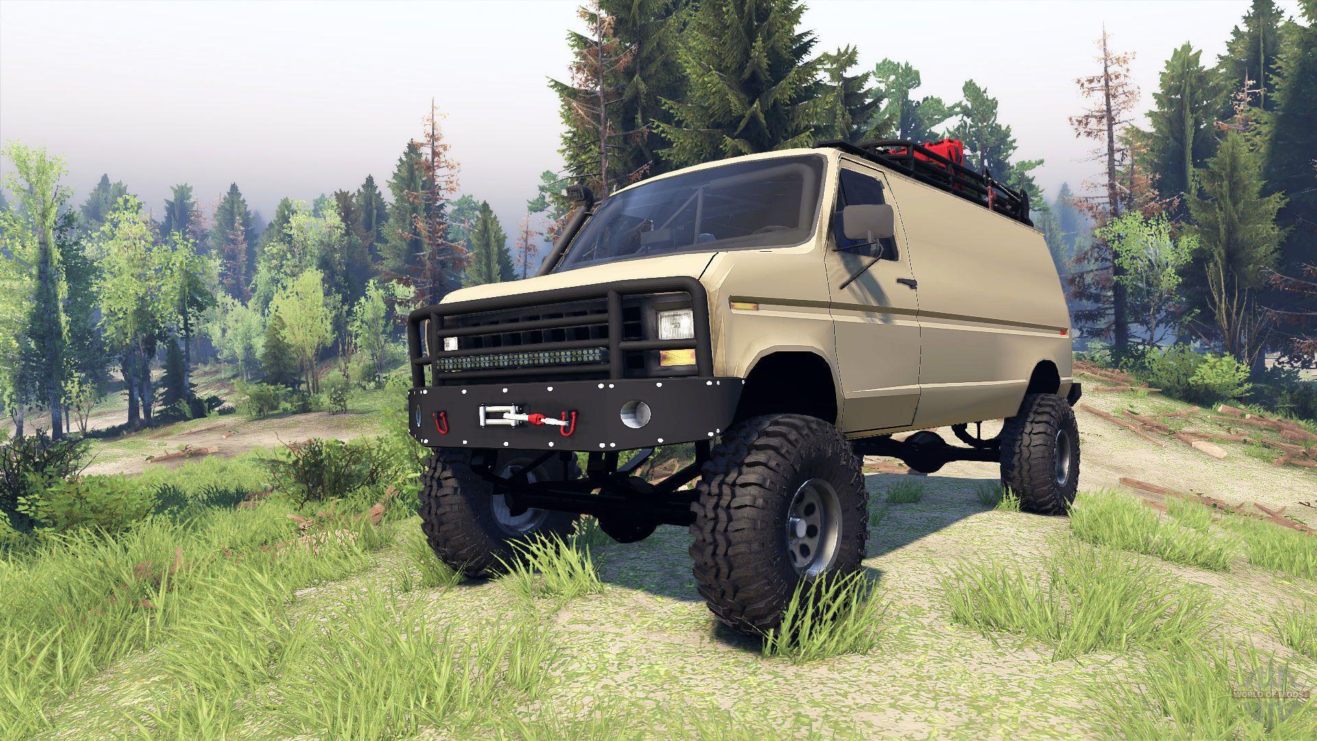 Ford E 350 Econoline 1990 V1 1 Tan For Spin Tires 4x4 Camper Van