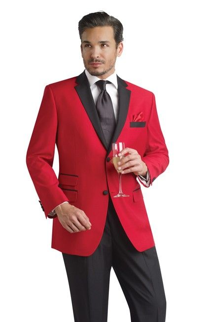 Red Tuxedo Jacket with Black Trousers - Contemporary Styling ...