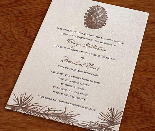 Wedding Invitation Wording Divorced Parents: Aspen Letterpress Wedding Invitation Design