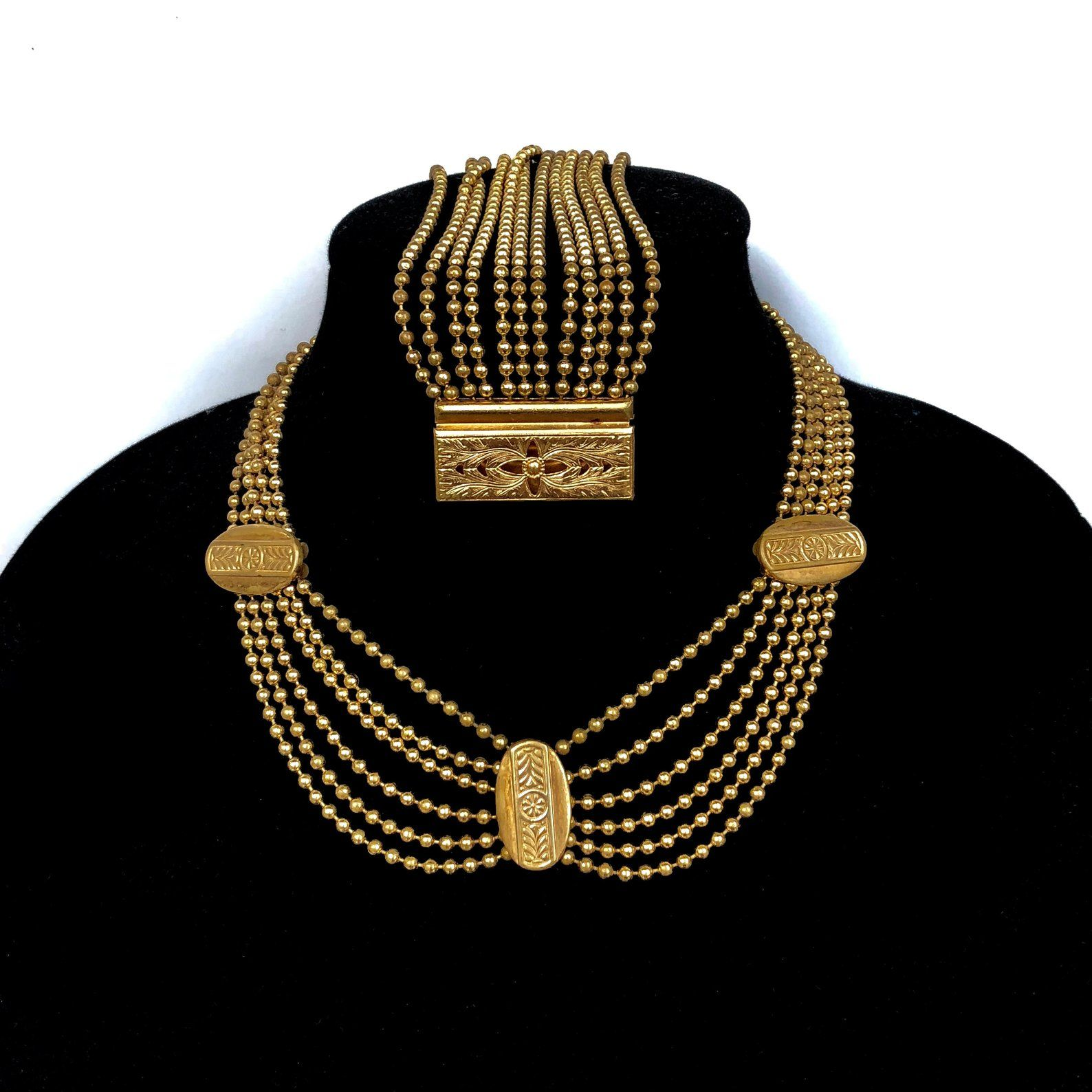 ART DECO ball chain Festoon Necklace Gold 1930s