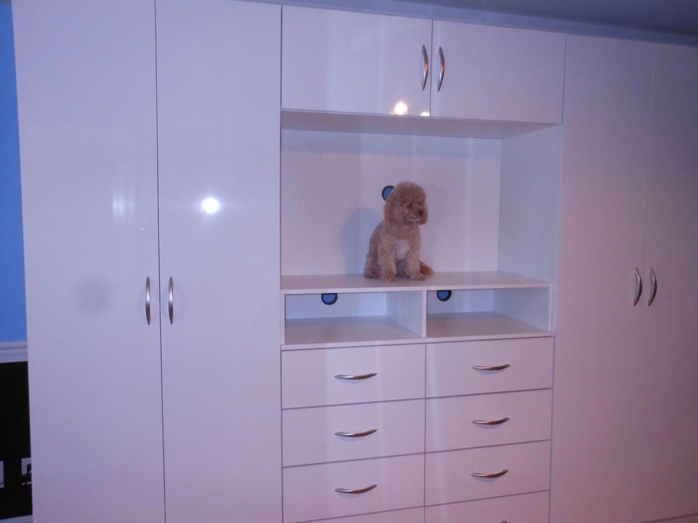 Wardrobe Entertainment Center Combo White Gloss Bedroom Cupboard