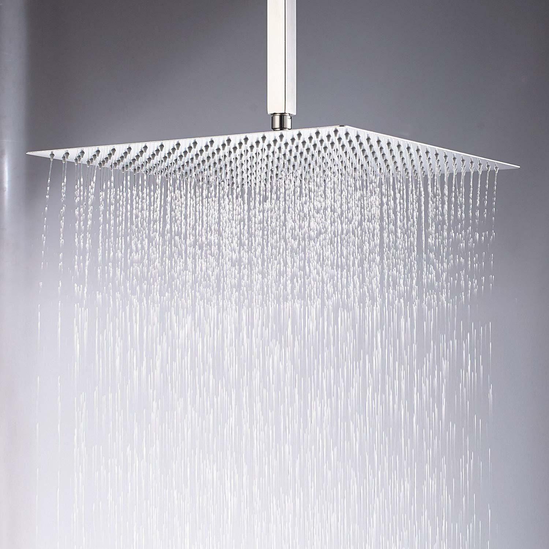 Kiarog 16 Inch Brushed Shower Head Solid Square Ultra Thin