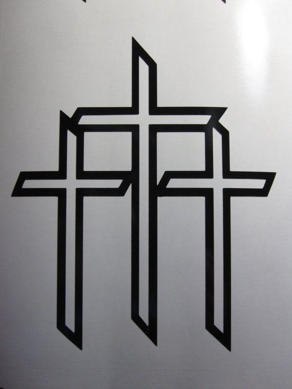 Three Crosses On A Hill Tattoo : three, crosses, tattoo, Etching