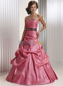 Modest Taffeta Pink Ball Gown With Beaded Ribbon Sash Ball ...