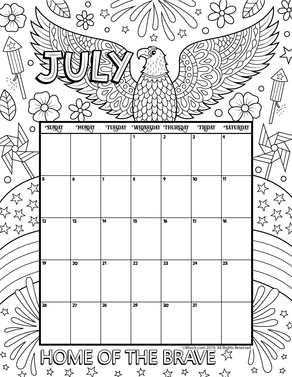 July 2020 Coloring Calendar Coloring calendar, Kids