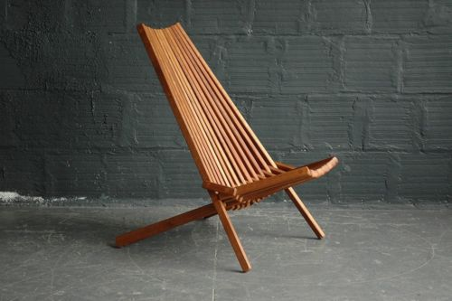 Ordinaire Teak Danish Modern Folding Indoor Outdoor Slat Lounge Chair