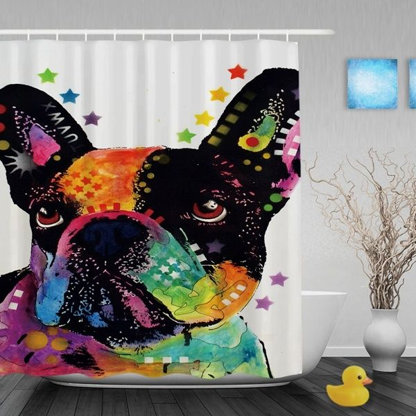 Frenchie Pet Dog Lovers French Bulldog Shower Curtains Waterproof Polyester Fabric For Bath Bedroom Room