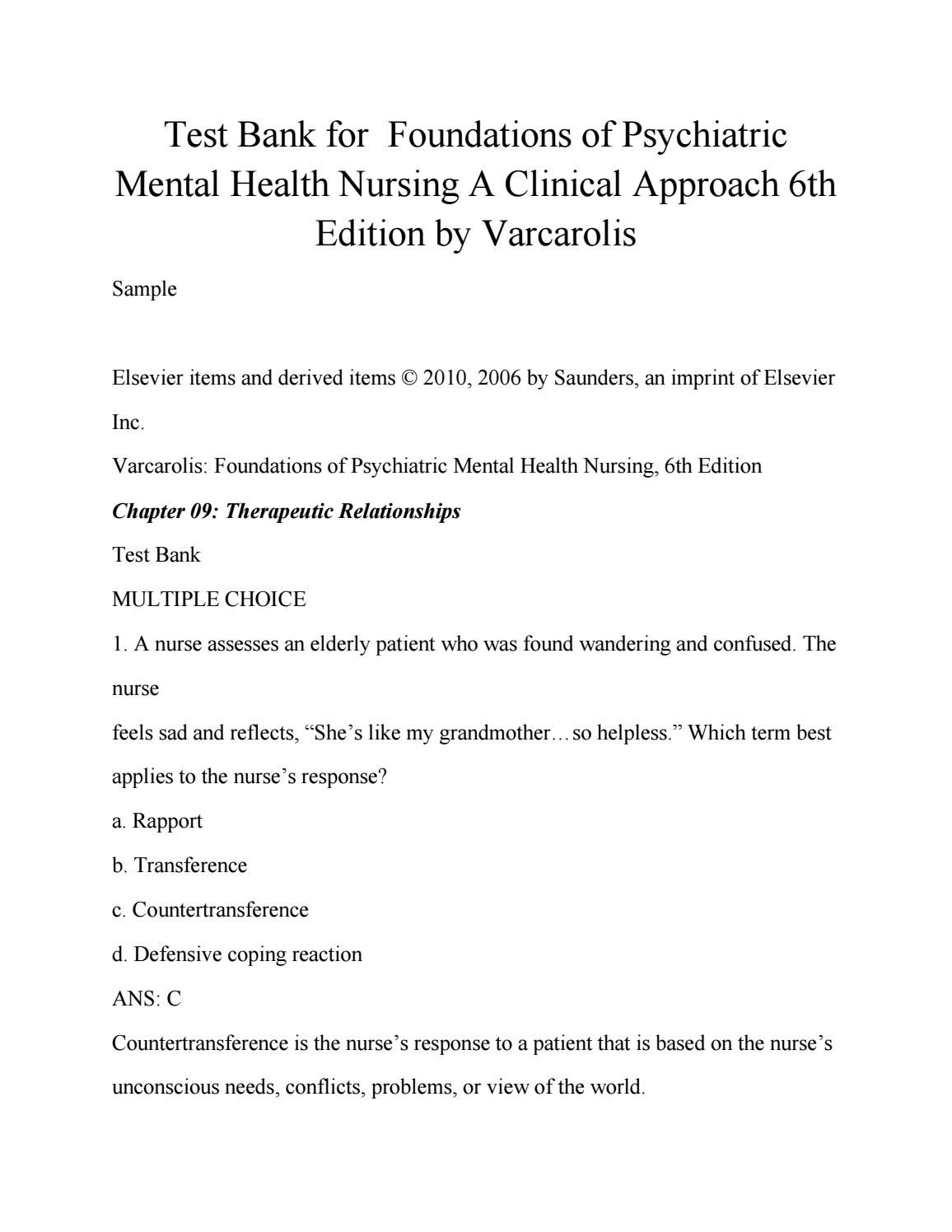 Test bank for foundations of psychiatric mental health