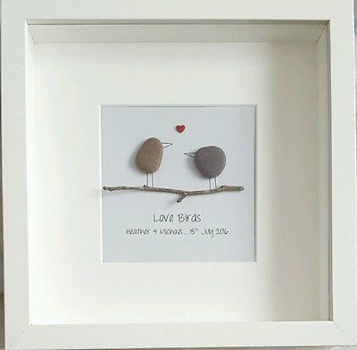 Handmade Wedding Or Engagement Gift Pebble Art Framed Personalised