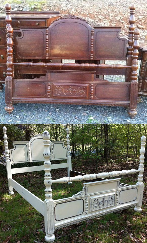 Before and After Tired old bed frame updated. So cool! A
