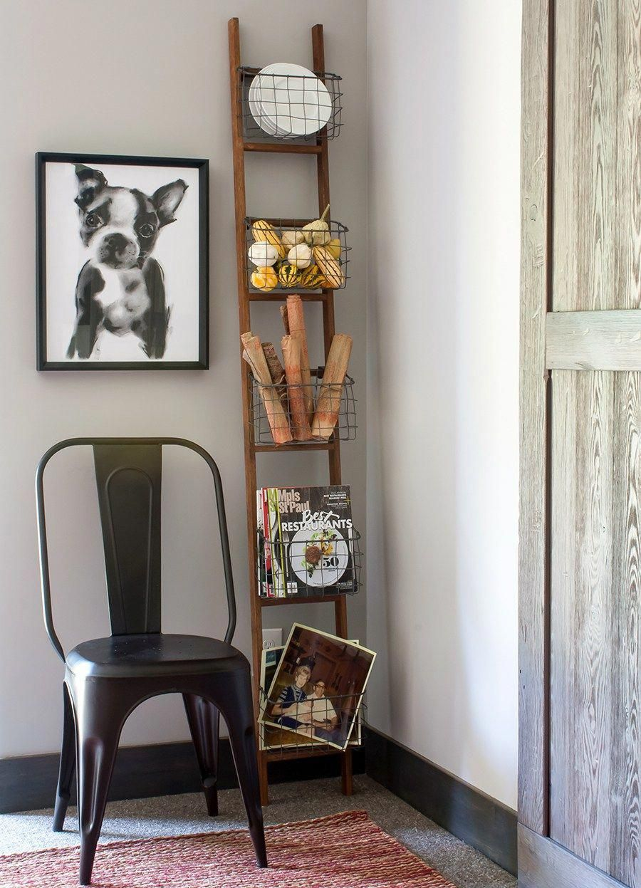 Love the fun basket ladder in this casual dining space great way to