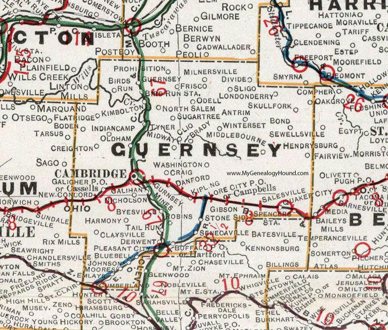 Guernsey County, Ohio, 1901, Map, Cambridge, Byesville, Senecaville ...