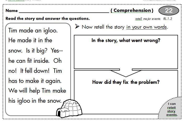 006 1st Grade Common Core Homework (100 days 1.RL.3