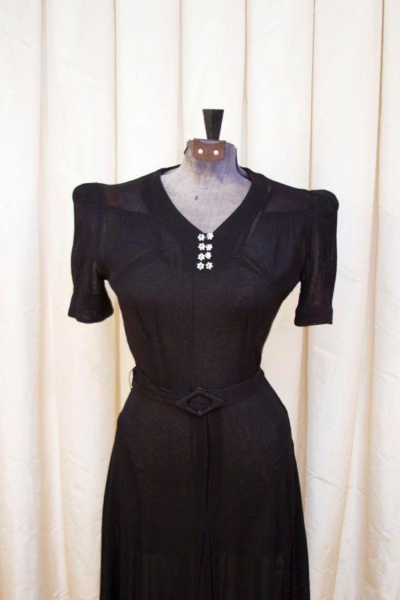 1940 S Dress Sheer Black Rayon Puff Sleeve By