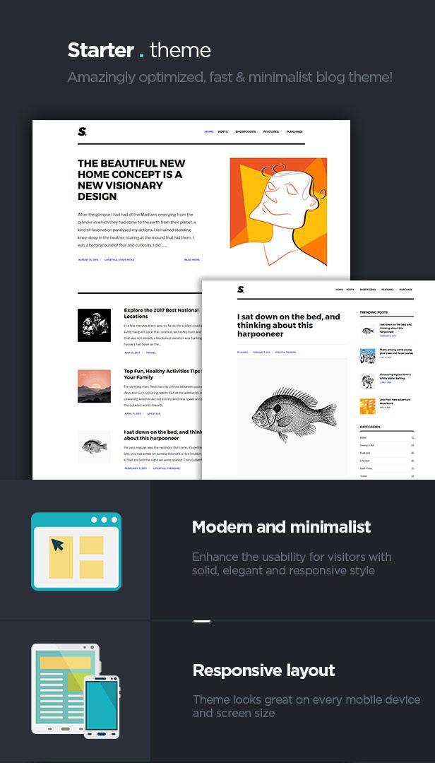 Starter - Amazingly optimized, fast & minimalist blog theme | Themes ...