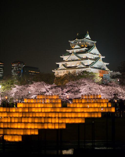 Osaka Castle at night by jkpark78, via Flickr