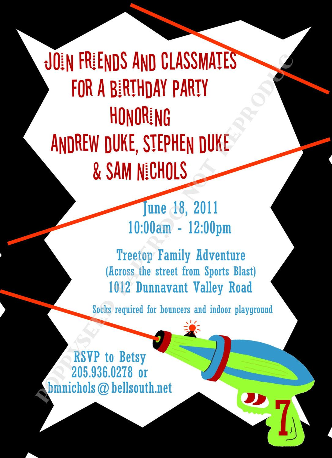Laser Tag Birthday Party Invitation - Personalized -Digital File or ...