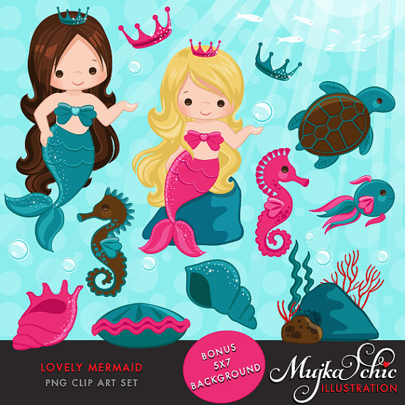 www.mujka.ca/store Lovely Little Mermaid Clipart & Under sea graphics by mujka