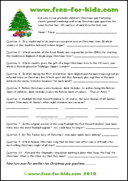 Zany image with fun trivia questions and answers for kids printable