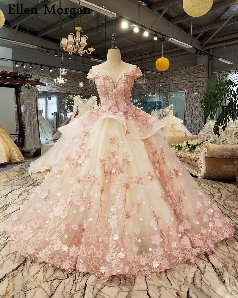 Elegant Pink Lace Princess Wedding Dresses 2019 African Black Girls Fl - chicmaxonline