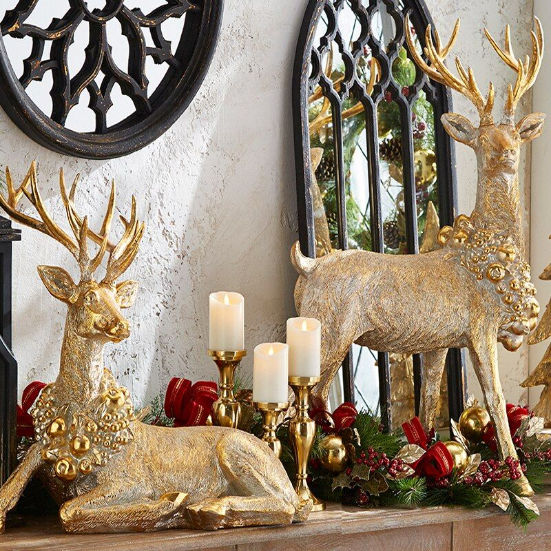 Raz Large Laying or Standing Gold Reindeer with Wreath