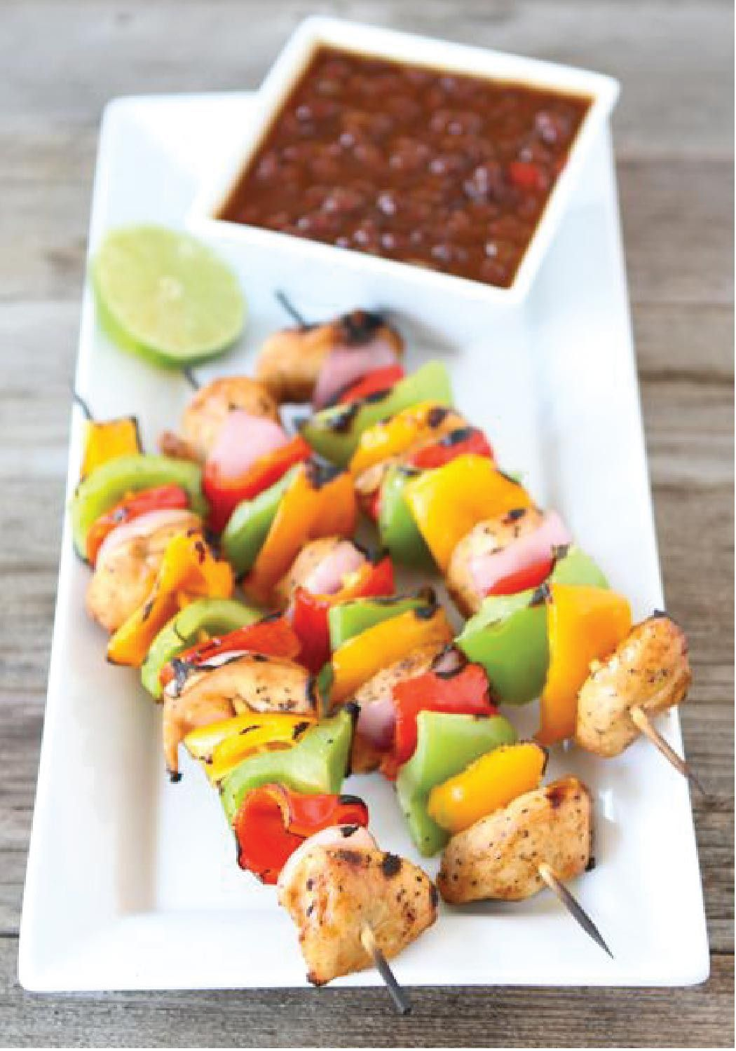 Grilled Chicken Fajita Kabobs are a quick and easy dinner recipe perfect for grilling season!