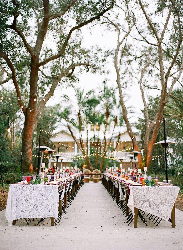 Boho Chic Vintage Inspired Wedding Reception Outdoor Lakeland Florida Decor Long Feasting Tables With Lace Tablecloths: Lakeland Fl Wedding Venue At Websimilar.org