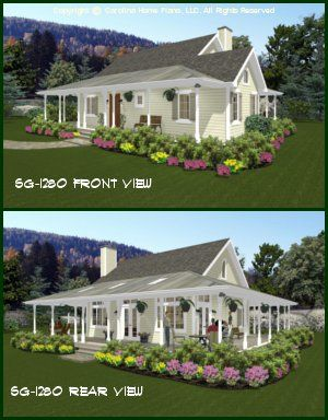 CHP-SG-1280-AASmall Country Cottage House Plan 2 Br, 2 Baths, 1 ...