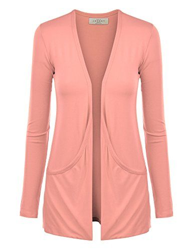 MBJ Womens Lightweight Long Sleeve Draped Open Front Cardigan with ...
