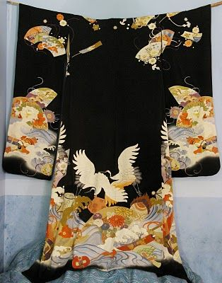 My collection and findings: Black Furisode with Cranes, fans, and flowers.