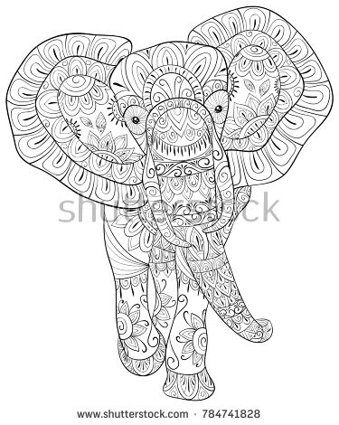 Adult coloring book,page a cute elephant for relaxing.Zen art style ...