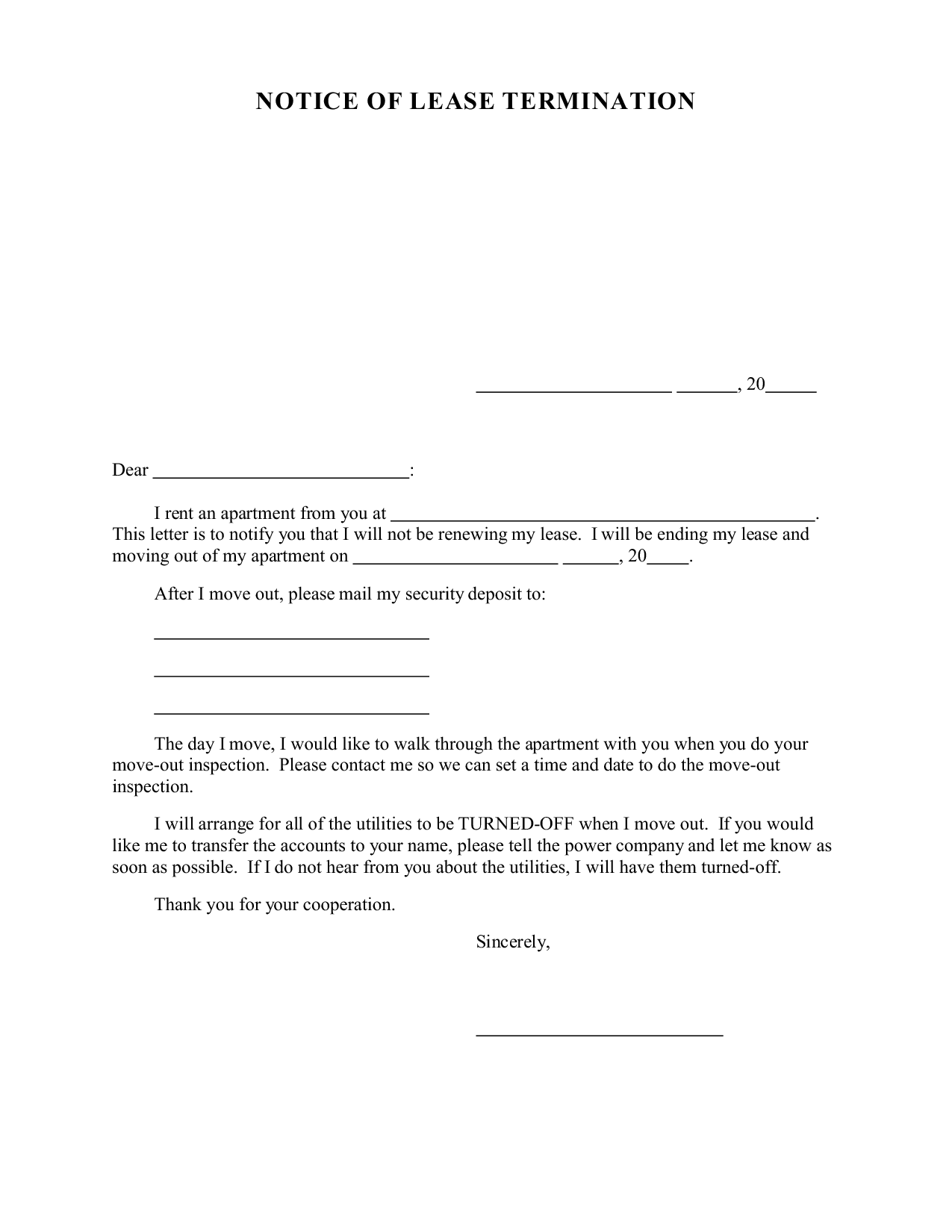 letter of not renewing lease - Free Printable Documents  Letter